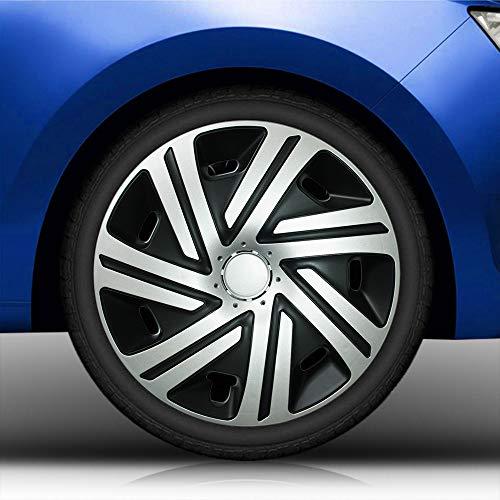 Eight Tec Handelsagentur (Größe und Farbe wählbar) Radzierblenden 14 Zoll - CYRKON (Schwarz-Silber) Bandel passend für Fast alle Fahrzeugtypen (universell)!