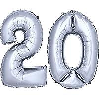 DekoRex® número globo decoración cumpleaños brillante para aire en argentado 40cm de alto No. 20