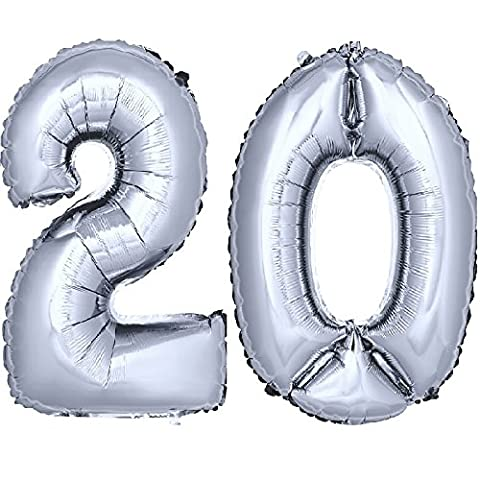 DEKOREX ® Ballon gonflable Ballon feuille de 40cm ballon d'hélium Ballon Anniversaire Décoration numéro argent No 20