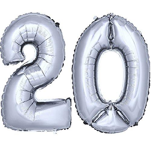 DekoRex número Globo decoración cumpleaños Brillante para Aire en argentado 40cm de Alto No. 20