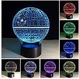 3D Illusion Lampe, USB Nachlichter 7 Farbwechsel 3D Effekt Stern LED Nachlampe schreibtischlampe Kreativ Leuchten Tischleuchte Dekoratives Licht für Kinder Jungen Geschenk für Sohn
