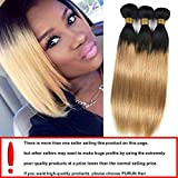 PURUN Tissage Ombre Hair Lisse Straight Meche Bresilienne Hair Naturel 1B 27 Hair 3 Bundles 300g Cheveux Humains Extensions 14 16 18 inches