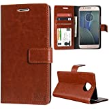 DMG PU Leather Wallet Case ID and Card Slots with Magnetic Closure Flip Cover for Moto G5s Plus (Brown)