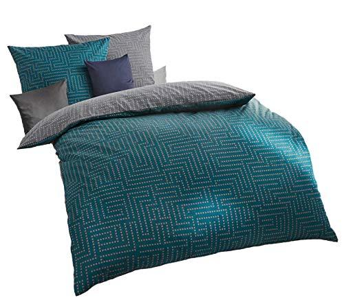 Kaeppel Mako Satin Bettwäsche 155x220 cm Password smaragd, Wendebettwäsche mit Reißverschluss, mit Aufbewahrungsbeutel