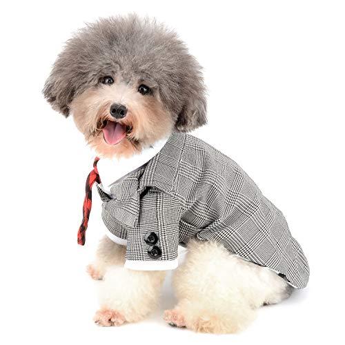 Ranphy Kleiner Hund Tuxedo Kostüme Pet Plaid Suit Puppy Party Kleidung mit Krawatte Formale Gentleman Apparel Katze Tux Shirt für Hochzeit