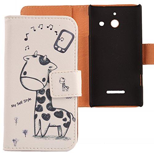 Lankashi PU Flip Leder Tasche Hülle Case Cover Schutz Handy Etui Skin Für Huawei Ascend W1 Giraffe Design
