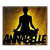 Led Meditation Yoga Yogi Figur mit Name - Individuelle Geschenkidee