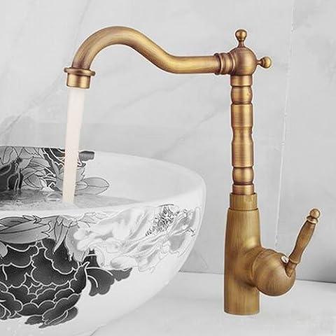 Deluxe Hahn 1 Pc Kupfer Badezimmer Waschbecken Facuet europäischen Retro Style Bronze Oberfläche gebürstet Wandmontage Mischbatterie Befestigung Zubehör, EINE