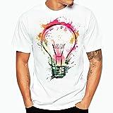Herren T-Shirt Internet Plus Size Print Tees Shirt Kurzarm Baumwoll T-Shirt Bluse (L, Weiß)