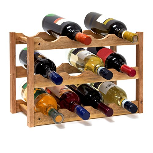 Relaxdays Weinregal klein, Flaschenregal mit 3 Ebenen für 12 Flaschen Wein, H x B x T: 28 x 42,5 x 21 cm, natürlich, Holz, Natur, 42 x 21 x 28 cm