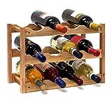Relaxdays wijnrek klein, flessenrek met 3 niveaus voor 12 flessen wijn, H x B x D: 28 x 42,5 x 21 cm, natuurlijk, hout, natuur, 42 x 21 x 28 cm