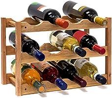 Relaxdays wijnrek klein, flessenrek met 3 niveaus voor 12 flessen wijn, H x B x D: 28 x 42,5 x 21 cm, natuurlijk, hout,...