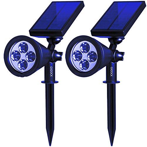 GXZOCK 2 In 1 Solar Spotlights, Upgraded Solar Garden Light Outdoor,  Waterproof 4 LED