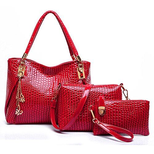 Oderola 3-teiliges Damen Handtaschenset Elegant Leder Handtaschen Schulter Beuteltote Schultaschen Hobo Set Rot