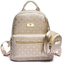 caca3496ff929 Geprägter PU-Leder Rucksack für Frauen Reise Rucksack Mädchen  Schulrucksäcke Damen Daypack 2Pcs Rucksack mit