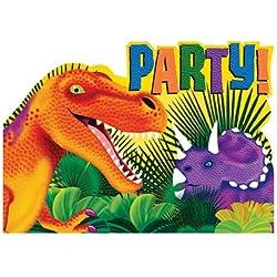 Invitaciones del partido del dinosaurio (paquete de 8)