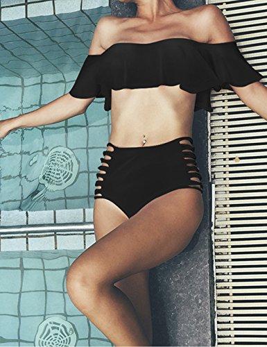 cooshional Damen Bikini Set Badeanzug Schulterfrei Rüsche Push up Sexy Schwarz Rosa Schwarz