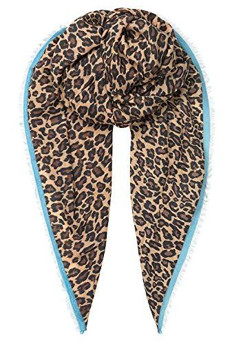 Becksöndergaard Damen Winterschal Gabi Beige Schal Leoprint Hellbraun Türkise Zierborte Wolle Modal Mix 90x200 cm - 1907622003-111
