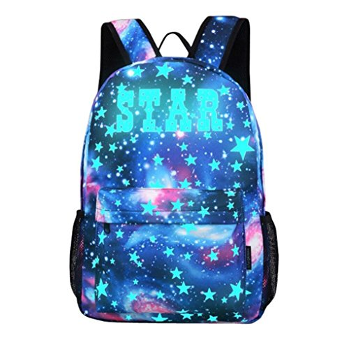 Galaxy : Galaxy School Backpack,VENMO Boys Girls College School Book Bags With Laptop Compartment and Bottle Holder Large Capacity Nylon Backpack Bag For SChool & Travel, 30*14*45cm (Galaxy)