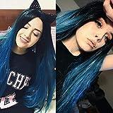 TianWlio Perücken DamenNatürliche Synthetische Perücke Gerade Steigung Blaue Lange Haar Partei Perücken für Frauen