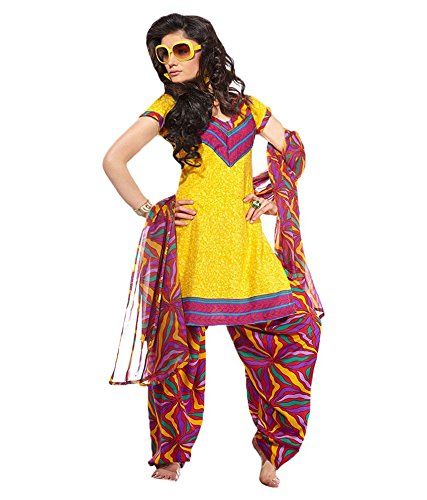 Vineberi Beautiful And Classic Unstitched Printed Crepe Yellow Salwar Suit Dress Material With Dupatta  available at amazon for Rs.399