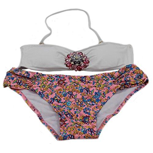 MEISHINE Elegant Damen Frauen Bandeau Bikini Set Push up Bademode Badeanzug (DE 34-36, Wei? + Kristall)