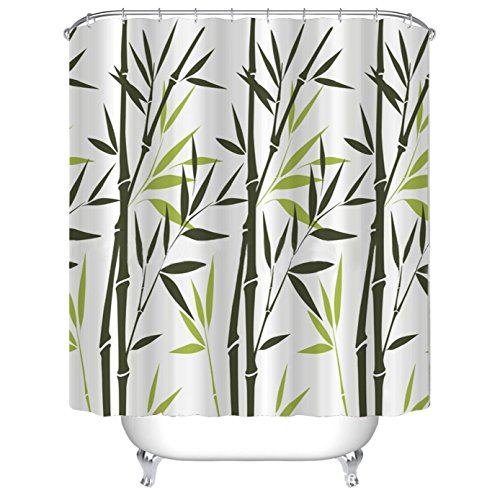 Beddingleer 180cmx 180cm freschezza Bamboo Leaf design tessuto ad asciugatura rapida per tenda da doccia impermeabile resistente alla muffa tenda da doccia antiscivolo con ganci Style#1