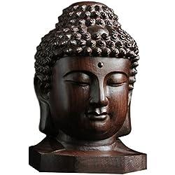 ULTNICE Estatua de Buda de madera Sakyamuni religiosa Estatua Estatuilla Arte Serenidad Colección