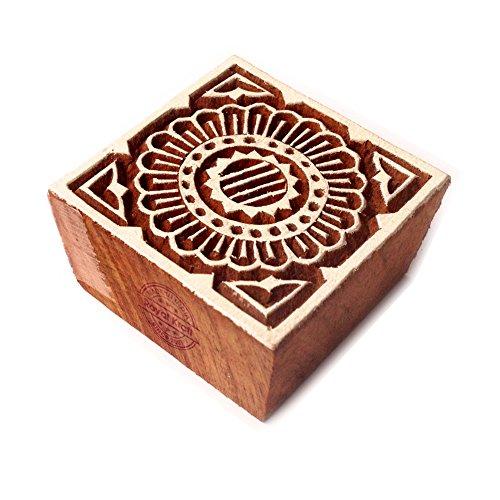 Royal Kraft Elegante Quadrato Fiore Disegno Legno Stampa Blocco - Fai-da-Te Tessuto Tessile Carta Argilla Ceramica Blocco Stampa Timbri