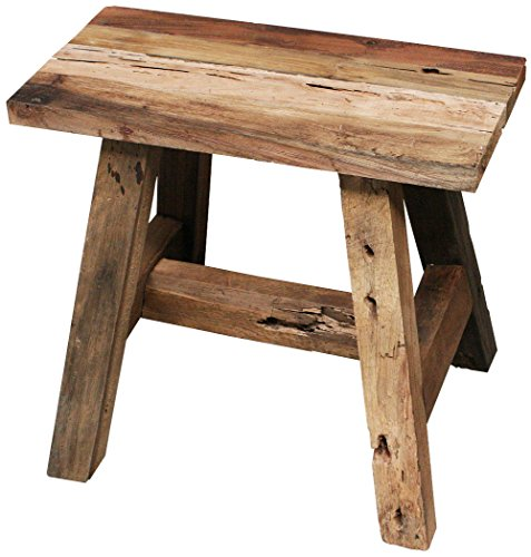 "KMH mbH LioLiving®, Hocker ""West"" aus recyceltem Massivholz (#400156)"