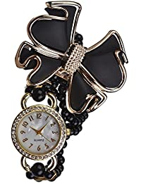 KMS Analog White Dial Women's Watch - BLACK_Pearl_Flower_LongBelt