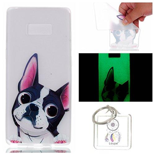 Preisvergleich Produktbild Hülle Leuchtende Galaxy Note8 (6,3 Zoll) Silikon Etui Handy Hülle Weiche Transparente Luminous TPU Back Case Tasche Schale Leuchten In Der Nacht Für Galaxy Note8 (6,3 Zoll) + Schlüsselanhänger (P) (1)