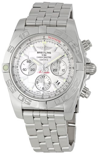 Breitling Men's AB011012/G684 Chronomat B01 Silver Chronograph Dial Watch
