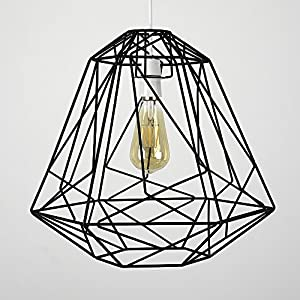 Large Retro Geometric Style Metal Basket Cage Ceiling Pendant Light Shade by MiniSun