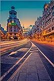 Posterlounge Leinwandbild 100 x 150 cm: Gran Via bei Nacht von Stefan Becker - fertiges Wandbild, Bild auf Keilrahmen, Fertigbild auf echter Leinwand, Leinwanddruck