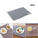 tshome Wasserdicht Baumwolle & Leinen Tisch MATS gestreift Tisch Tischsets, 4Stück, 40x 30cm blau gestreift