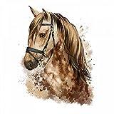 nikima - 085 Wandtattoo Pferd Kopf braun Kinderzimmer Deko - in 5 Größen - niedliche Kinderzimmer Sticker und Aufkleber süße Wanddeko Wandbild Junge Mädchen Größe 1000 x 1300 mm
