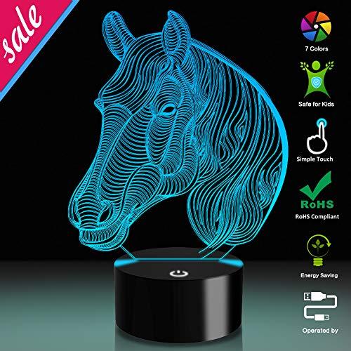 Pferd 3D Optische Täuschung Lampe, USB-Stromversorgung 7 Farben Blinken Berührungsschalter Schreibtisch LED Nachtlicht für Kinder Schlafzimmer Dekoration