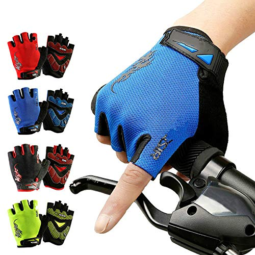 Fahrradhandschuhe, warm, winddicht, Gel, rutschfest, stoßfest, atmungsaktiv, für Fahrräder, Halbfinger-Ausrüstung, M, blau, 1