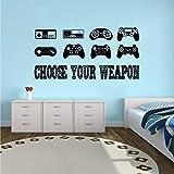 Adesivo da parete rimovibile Gamer Quote Vinile Adesivo Ragazzi Room Decor Creativo Giochi Wallpaper Controller Decal 601 bianco 57x28cm