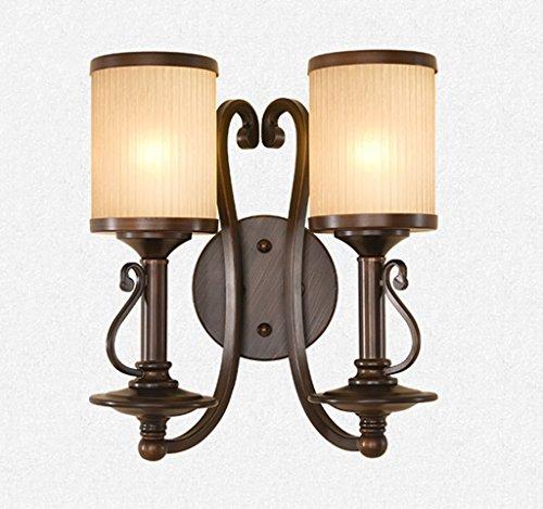 ZHAS American Style ländlichen Wandleuchte Eisen Lampe Wohnzimmer Schlafzimmer Gang Spiegel vorne Licht Europäische Leuchten Retro TV-Kulisse an der Wand und einem Kopf Doppel Scheinwerfer (Farbe: 2 Kopf) (Gratis-einfachheit-muster)