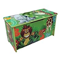 Jungle Green Animal Themed Kids Childrens Wooden Toy Box Bench Storage Box