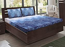 Bombay Dyeing double bedsheet with 2 pillow covers-Eternia-Blue
