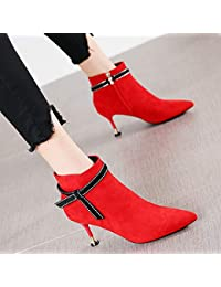 HRCxue Zapatos de la Corte Zapatillas Martin de Gamuza roja con Punta de Mujer, Tacones