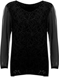 Womens Plus Size Lace Lined Sheer Long Sleeve Ladies Chiffon Tunic Party Top - Black - 16