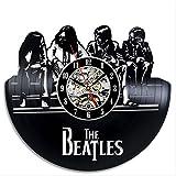 YUN Clock@ Wanduhr aus Vinyl Schallplattenuhr Upcycling Familien Dekoration 3D The Beatles Design-Uhr Wohnzimmer Schlafzimmer Restaurant Wand-Deko Kunst Geschenk/Durchmesser 30 cm