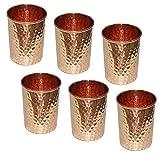 Gobelets en cuivre tasses verres à eau pour servir de l'eau pour le yoga ayurveda bienfaits pour la santé, lot de 6, 8.5oz