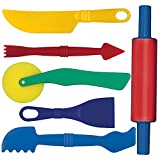 Gowi 185-15 Knetwerkzeug, Küchenspielzeug, 6-er Set, farblich sortiert -