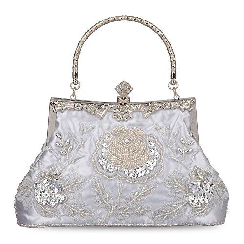Baglamor Frauen Vintage Style Handtasche Rosen Perlen Geldbörse Pailletten Abendtasche Hochzeit Kupplung (Muster Perlen-geldbörse)