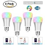 CLDGF 4 Pack Smart Glühbirne Wifi Stufenlos Dimmen App Steuerung Alexa Stimme E27 Glühbirne RGB Glühbirne Kompatibel mit Amazon Alexa, Google Assistent, Ios Homekit (Silber)